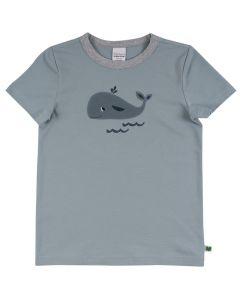 HELLO T-shirt med broderi af en hval