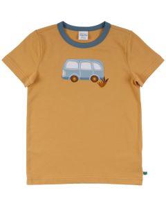 HELLO t-shirt med broderi af en bus