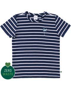Stribet T-shirt med broderet palme
